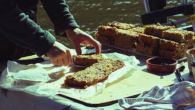 Photograph - Woman's Hands Slicing Cake At The Market Bakery Stall B by Jacek Wojnarowski