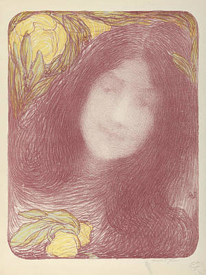 Relief - Woman's Head With Flowers by Edmond Aman-Jean