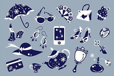 Women Accessories - Shoes Shopping Bag - Vector Icons Art Print by Arte Venezia