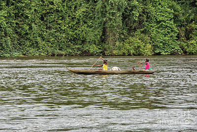 Photograph - Women And Child In Canoe by Patricia Hofmeester