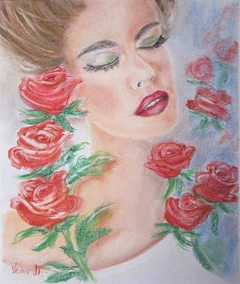 Pastel - Women And Roses by Vesna Martinjak