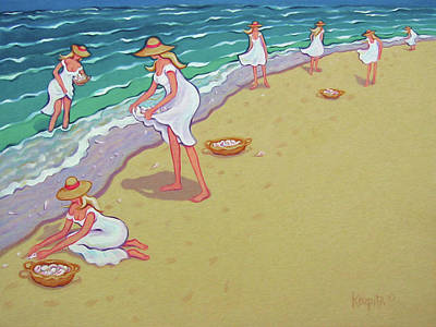Painting - Women Beach Seashells - Sisters Of The Sea by Rebecca Korpita