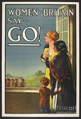 Mixed Media - Women Britain Say Go Ww2 Patriotism Poster by R Muirhead Art