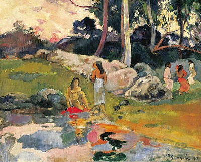 Women By The Riverside Art Print by Paul Gauguin