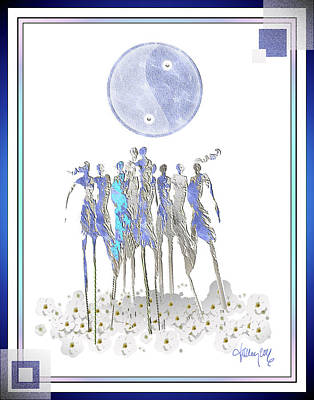 Women Chanting - Full Moon Flower Song Art Print