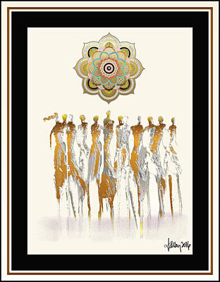 Women Chanting Mandala Art Print