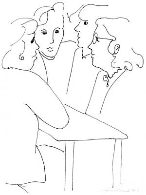 Drawing - Women chatting in cafeteria by Annabel Andrews
