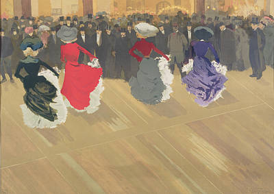 Dance Floor Painting - Women Dancing The Can Can by Abel Truchet