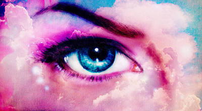Healthcare And Medicine Painting - women eye painting in cloud sky effect Front view of beauty fema by Jozef Klopacka