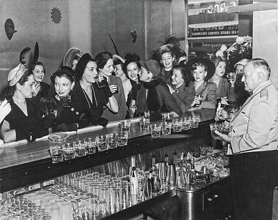 Photograph - Women First Admitted To Drink At Bars In New Orleans - 1949  by Doc Braham