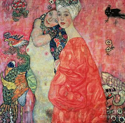 Lesbian Painting - Women Friends by Gustav Klimt