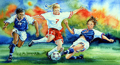 Soccer Painting - Women by Hanne Lore Koehler