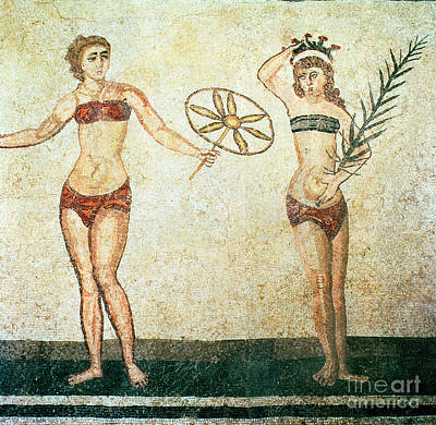 Women In Bikinis From The Room Of The Ten Dancing Girls Art Print by Roman School