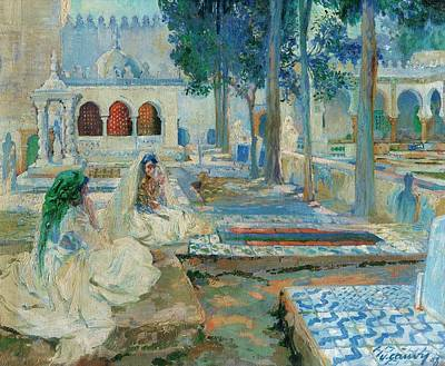 Woman In Cemetary Painting - Women In El Kettar Cemetary by Leon Cauvy