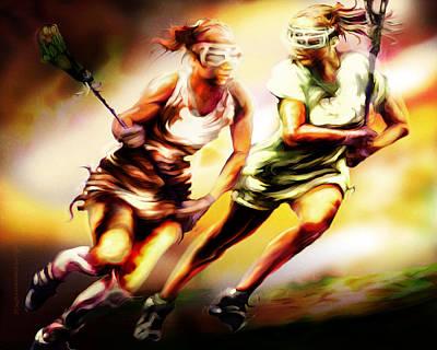 Lacrosse Painting - Women In Sports - Lacrosse by Mike Massengale