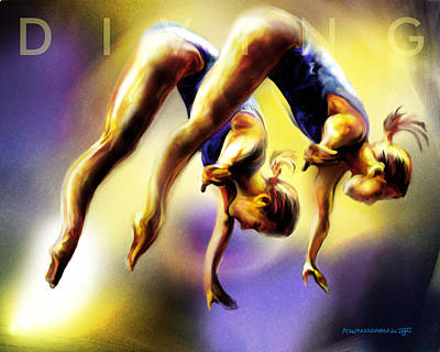 Painting - Women In Sports - Tandom Diving by Mike Massengale