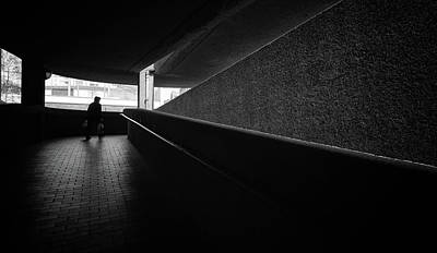 Photograph - Women In The Walkway Shadows Barbican London by John Williams