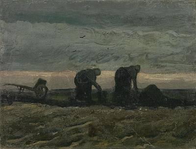Painting - Women On The Peat Moor Nieuw Amsterdam, October 1883 Vincent Van Gogh 1853 - 1890 by Artistic Panda