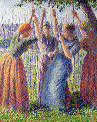 Crops Painting - Women Planting Peasticks by Camille Pissarro