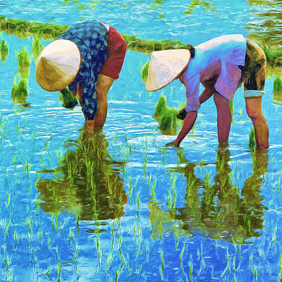 Rice Paddy Painting - Women Planting Rice by Dominic Piperata