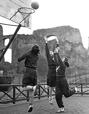 Basketball Hoop Photograph - Women Playing Basketball by Underwood Archives