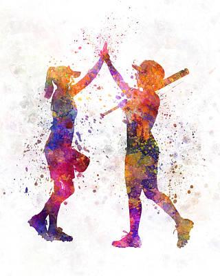 Batter Painting - Women Playing Softball 01 by Pablo Romero