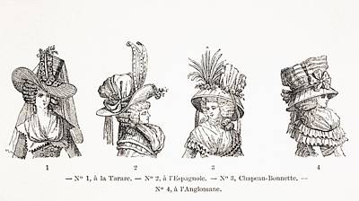 Women S Hat Styles Of The 18th Century Print by Vintage Design Pics