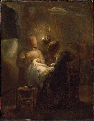 Lamplight Painting - Women Sewing  by MotionAge Designs
