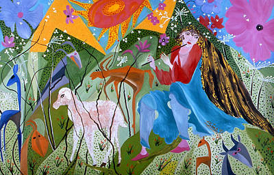 Art Print featuring the painting Women Shepperd. by Sima Amid Wewetzer
