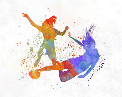 Women Soccer Painting - Women Soccer Players 02 In Watercolor by Pablo Romero