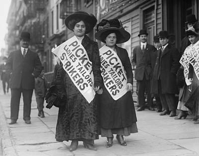 Seamstress Photograph - Women Strike Pickets From Ladies by Everett