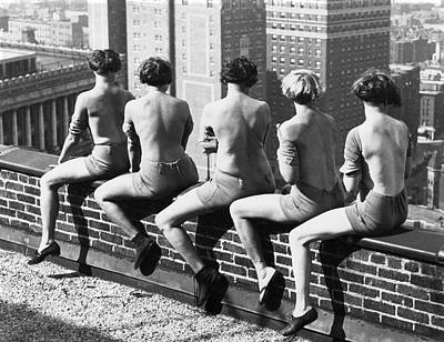 Photograph - Women Sunning Themselves by Underwood Archives