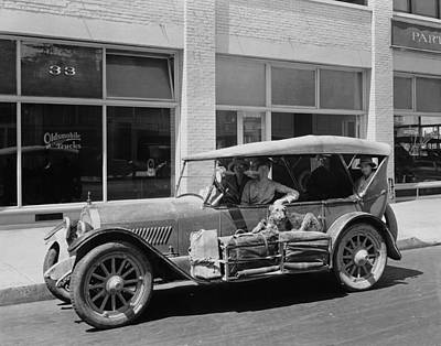 Airedale Terrier Photograph - Women Traveling In A 1919 Car by Underwood Archives