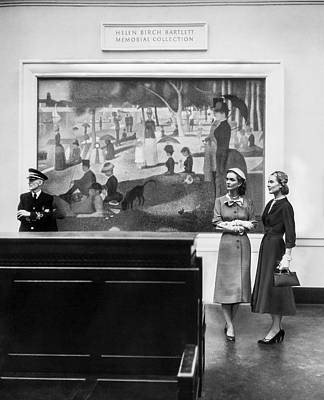 Women View Seurat Painting In Museum Art Print by Horst P Horst