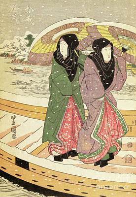 Painting - Women Walking Over A Bridge In Snow by Hiroshige
