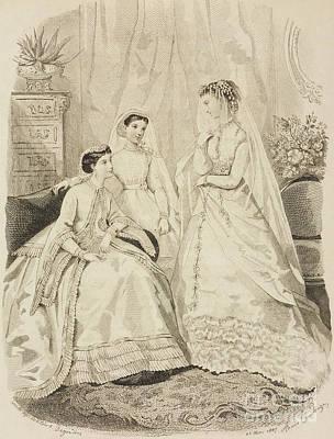 Communion Drawing - Women Wearing Elegant Dresses by Adele-Anais Toudouze
