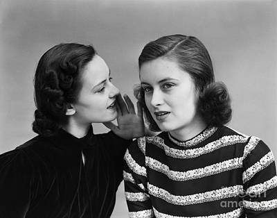 Secret Whispers Photograph - Women Whispering, C.1930-40s by H. Armstrong Roberts/ClassicStock