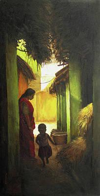 Tamilnadu Painting - Women With Child by Sathya Sathya