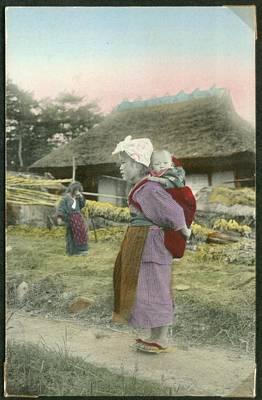 Women With Children In A Village Art Print