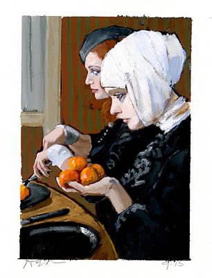Women With Tangerines Art Print by H James Hoff