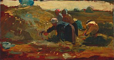 Winslow Homer Painting - Women Working In A Field by Winslow Homer