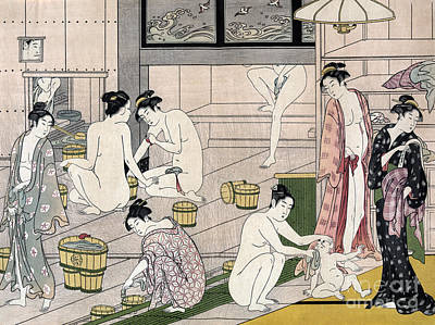 Asia Drawing - Women's Bathhouse by Torii Kiyonaga