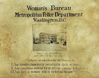 Photograph - Women's Bureau House Of Detention Poster 1921 by Anthony Murphy