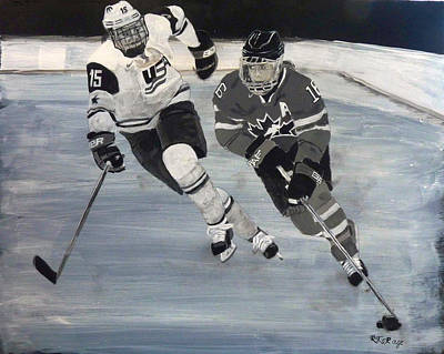 Painting - Women's Hockey by Richard Le Page