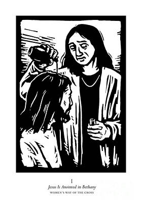 Painting - Women's Stations Of The Cross 01 - Jesus Is Anointed In Bethany - Jljab by Julie Lonneman