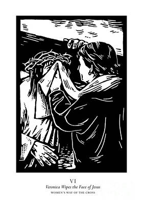 Painting - Women's Stations Of The Cross 06 - Veronica Wipes The Face Of Jesus - Jlvwj by Julie Lonneman