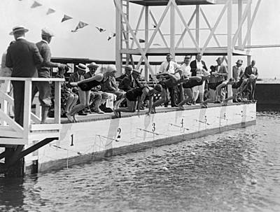 Swimsuit Photograph - Women's Swimming Championship by Underwood Archives