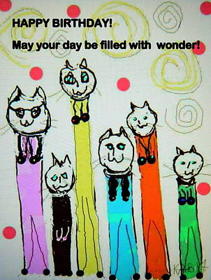 Digital Art - Wonder Cats Birthday Card  by Kathy Barney