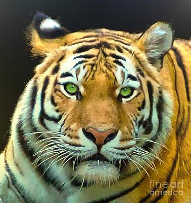 Tigress Digital Art - Wonder What This Tiger Is Thinking by Helene Guertin