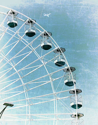 Photograph - Wonder Wheel And Plane Series 3 Blue by Marianne Campolongo